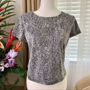 3/$15 Attention Silver and Black Textured Blouse S